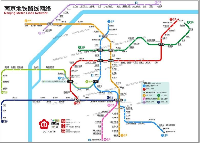预计2014年8月16日通车最新南京地铁线路规划图,大家一起来看看哦!