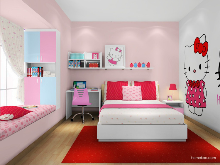 【免费设计】儿童房公主女孩 粉色儿童床 儿童衣柜书桌 儿童家具组