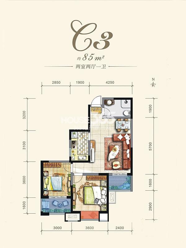 阳光城西西里C3户型平面图2室2厅1卫1厨 85.00㎡