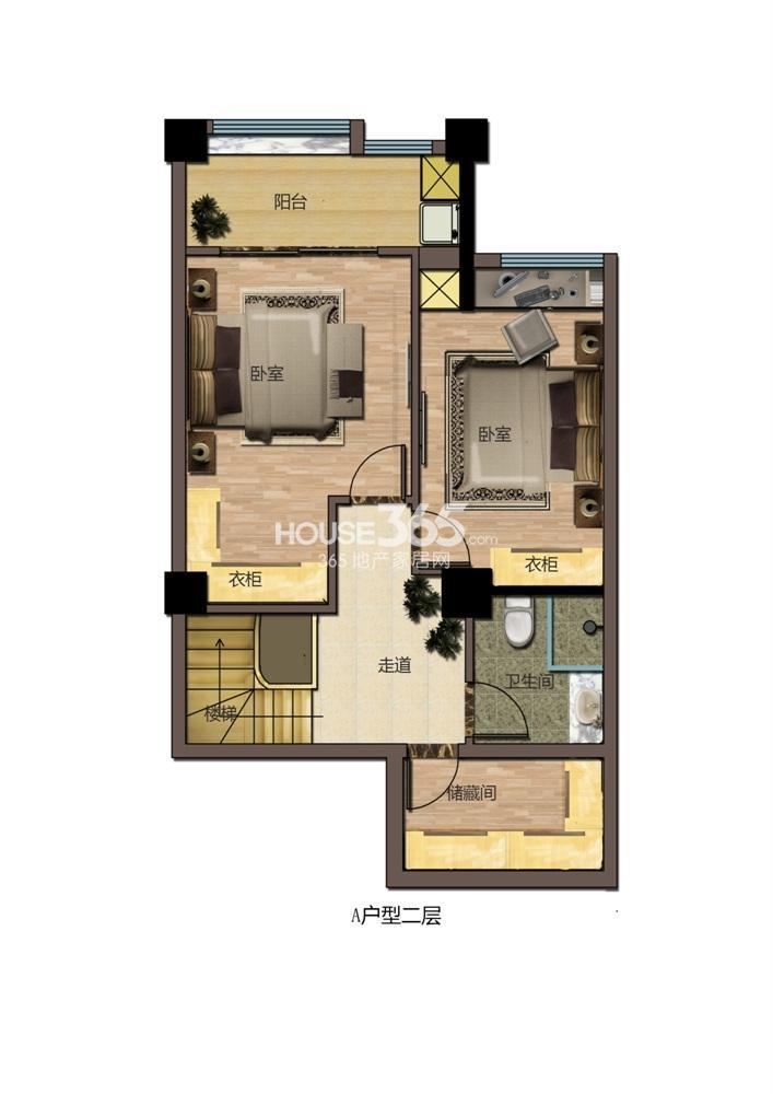 东方红郡公寓A户型二层