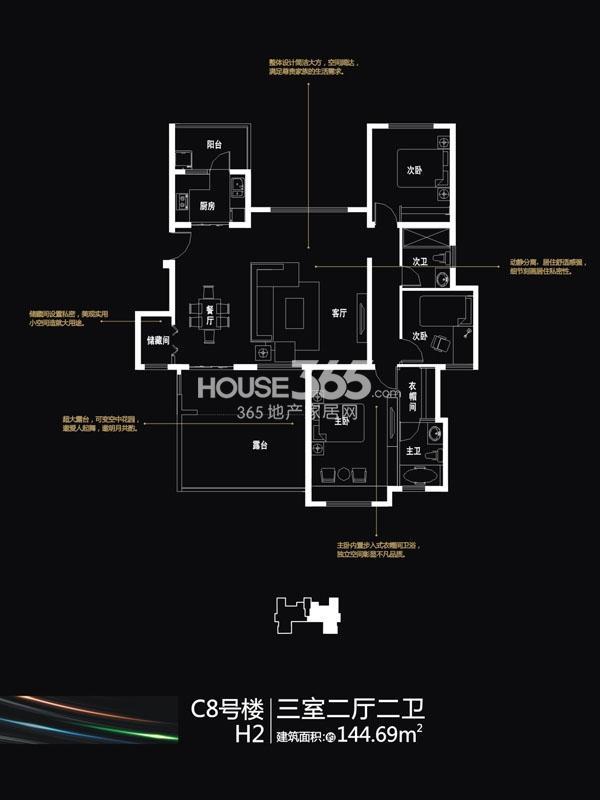 国润城C8#楼H2户型3室2厅2卫1厨144.69㎡