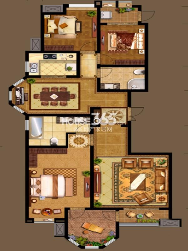 国金华府13号楼G户型 3室2厅2卫1厨 160.00㎡