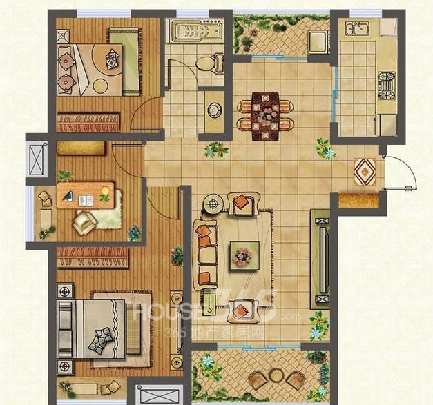 蚌埠国购广场A1 三室两厅一卫 103.5㎡