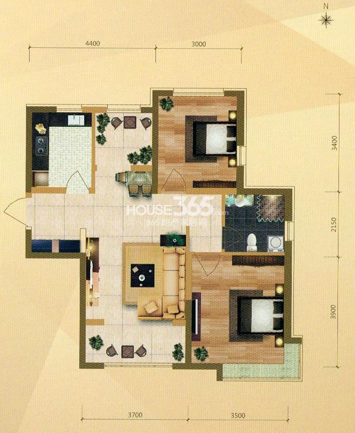 B户型 2室2厅1卫 96㎡