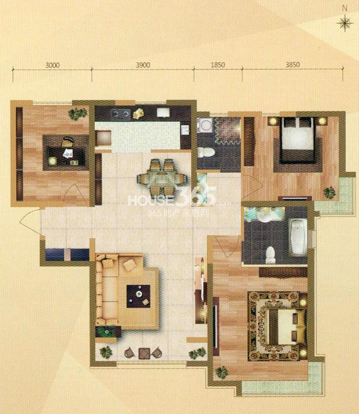 E1户型 3室2厅2卫 138㎡