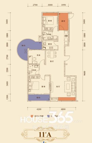 瑞泰心里城11#楼A户型  三室两厅132.69㎡