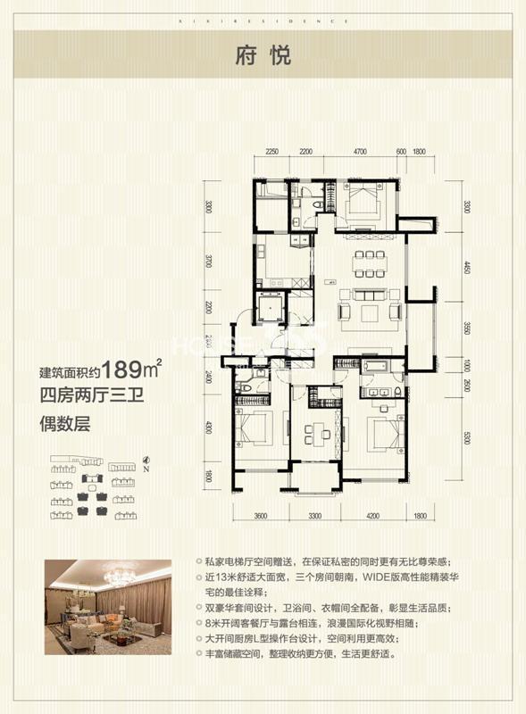 富力西溪悦居花园洋房189方户型图偶数层