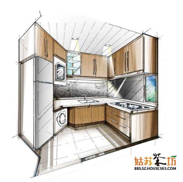 厨房设计手绘效果图 清新设计
