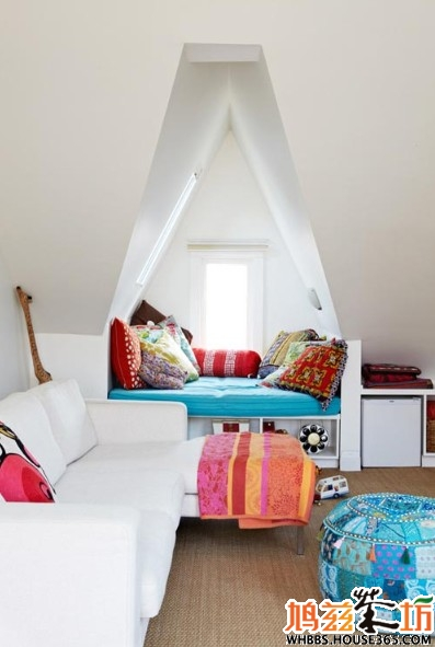 斜顶装修效果图 白净儿童房