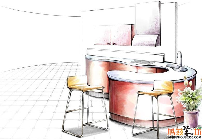 厨房设计手绘效果图 ,5张美图抢看咯!