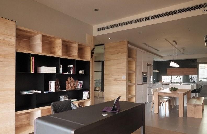 二楼客厅做开放式书房图片
