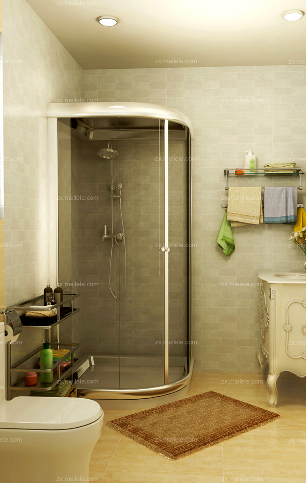 欧式卫生间效果图:蓝色马赛克瓷砖铺设墙面