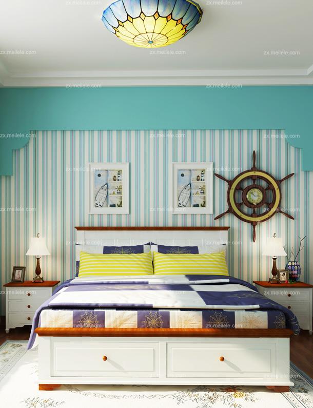 欧式卧室壁纸装修效果图:白色的家私搭配碎花的床品,碎花的墙纸,青色的床头背景墙,再加上漂亮的吊灯,整个房间充满了自然、舒适的气氛。