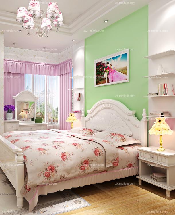 新闻 新闻详情  欧式卧室壁纸装修效果图:白色的家私搭配碎花的床品